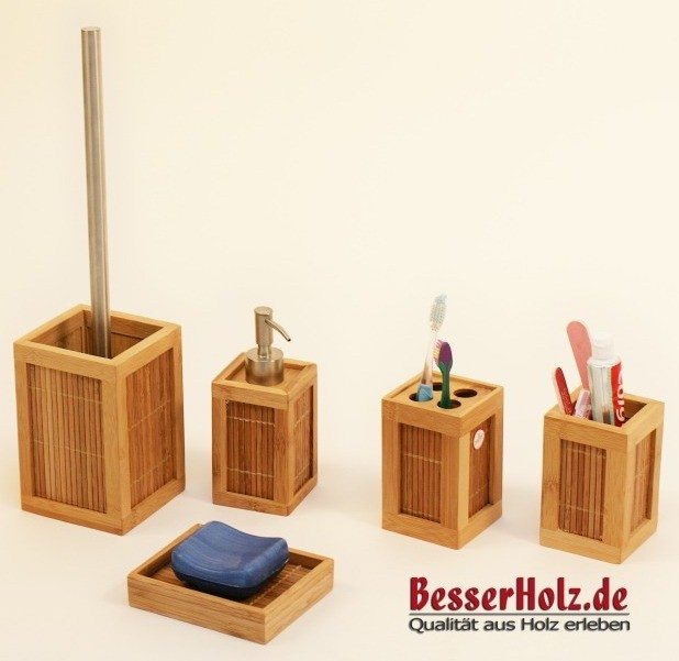 tolles bad accessoires set aus bambus holz mit b rste ebay. Black Bedroom Furniture Sets. Home Design Ideas