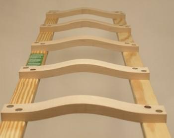Dachleiter aus Holz ohne oder mit Aluband 16 Sprossen