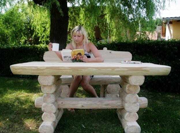 Gartentisch Holz 12 Personen ~ Rustikaler Holz Gartentisch und Bank, massive Gartenmöbel – Bild 2