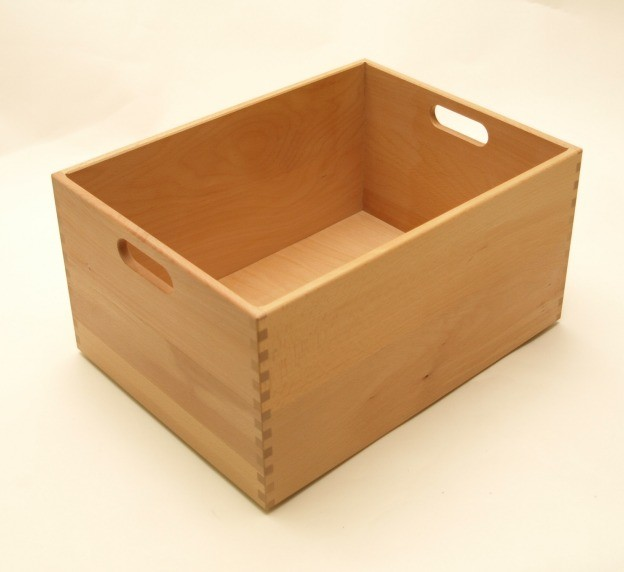 holzkiste holzbox aus buche lackiert 40 x 30 x 21 cm ebay. Black Bedroom Furniture Sets. Home Design Ideas