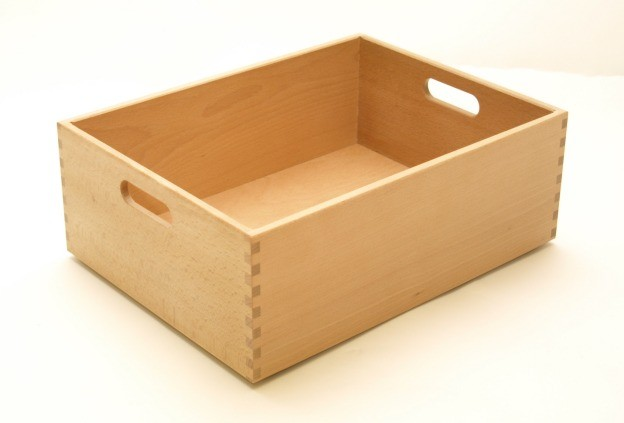 holzkiste holzbox aus buche lackiert 40 x 30 x 15 cm ebay. Black Bedroom Furniture Sets. Home Design Ideas