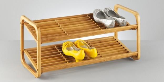 Schuhregal Holz Metall Stapelbar ~ Schuhregal mit 2 Etagen aus Bambus stapelbar Wohn Accessoires Haushalt