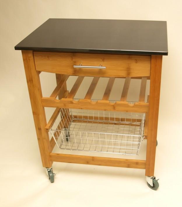 luxus-kuechen-rollwagen aus bambus und granit wohn-accessoires ... - Rollwagen Für Küche