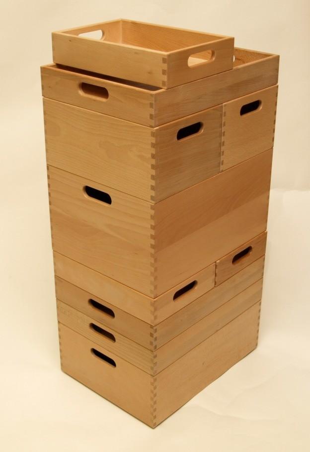 Holzkiste holzbox aus buche lackiert 30 x 20 x 7 cm wohn for Holzkiste kinderzimmer