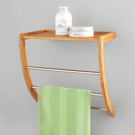 handtuchregal bambus chrom mit ablagfl che wohn accessoires haushalt einrichten deko. Black Bedroom Furniture Sets. Home Design Ideas